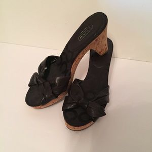 ⭐️COACH SHOES SLIDES BLACK BOW CORK HEELS 8 KAREN